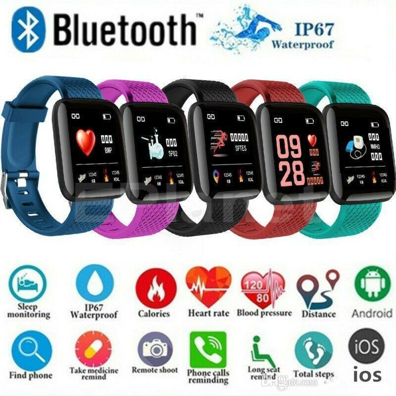 معرف 116plus الاسوره النطاقات الذكية سوار الشاشة الملونة اللياقة تعقب مقياس الخطو القلب معدل ضغط الدم مراقب الصحة D13