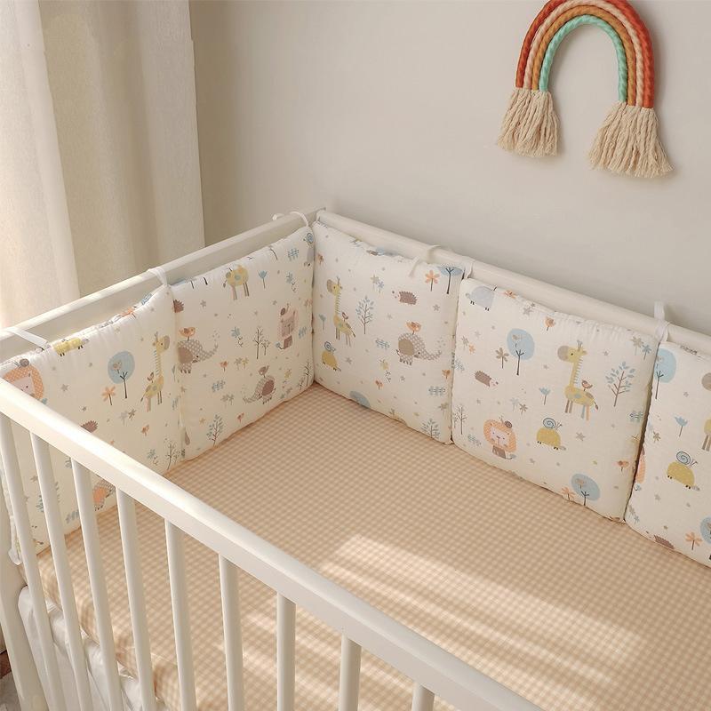 유아용 침구 용 아기 안전한 침대 라이너 보호대 두꺼운 패딩 보육 침대 코튼 범퍼 베개 장식 세트