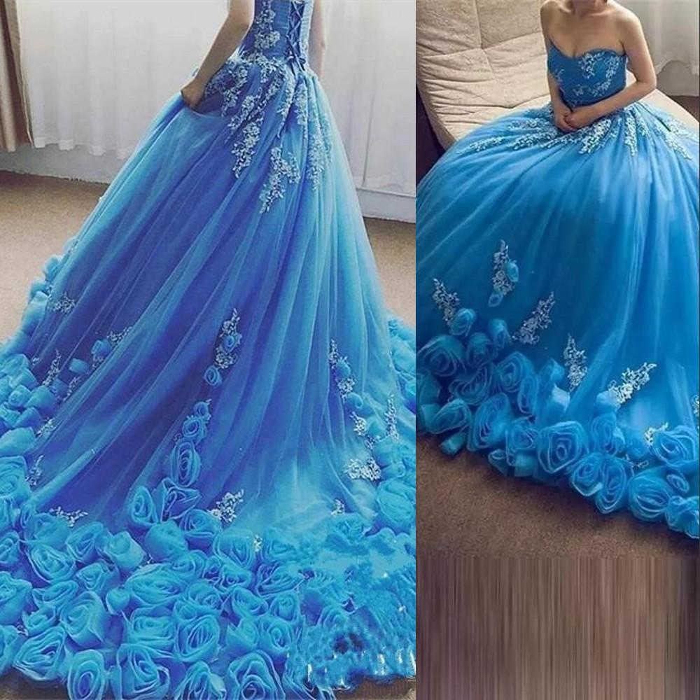 2021 Sky Blue Quinceanera Dresses Ball Gown Sweetheart Rose Flowers White Appliques Sweet 16 Tulle Corset Back Party Prom Evening Gowns
