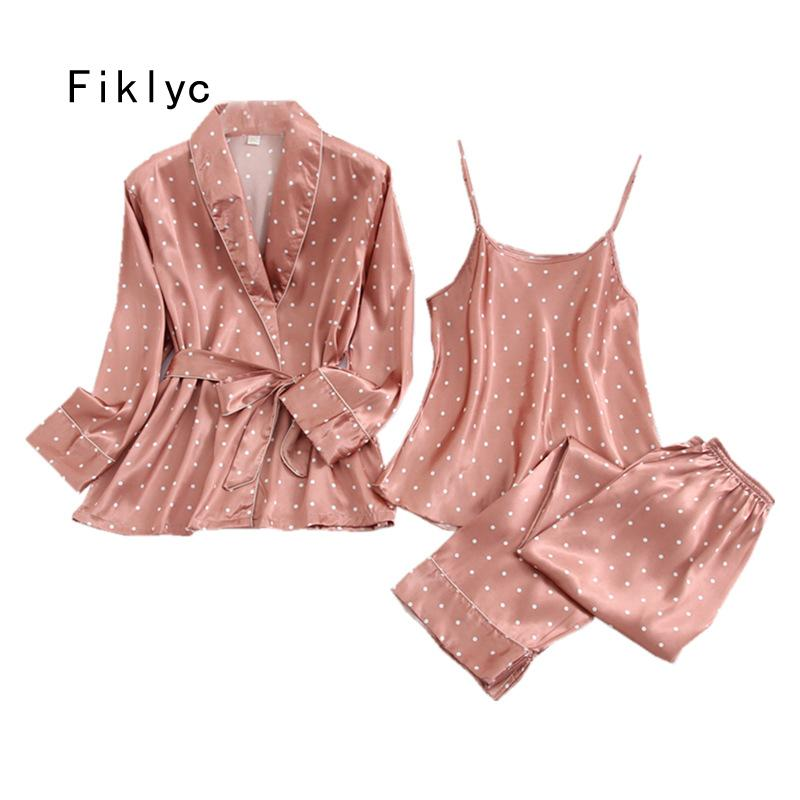 Fiklyc underwear three-pieces women's dot satin pajamas sets long sleeve autumn long pants pyjamas sets female sexy nightwear A0603