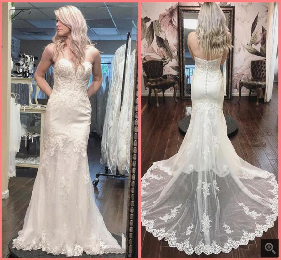 2021 Robe de Mariage white tulle mermaid wedding dress lace appliques strapless sweetheart neckline bride dresses court train long open back sexy bridal gowns
