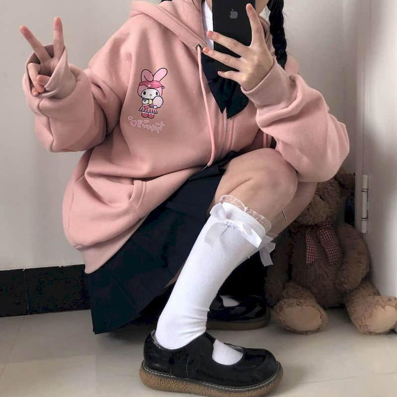 Nueva chaqueta para mujer Spring Autumn College Style Coat Linda dibujos animados Imprimir suelto Plus Fleece Capa con capucha gruesa Chica Estudiante Kawaii