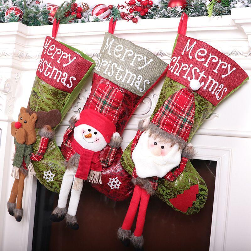 Weihnachtsgeschenk Strümpfe Mini Santa Sacks Candy Drage Tuch Tasche Weihnachten Dekorationen für Home Plessins GWB10249