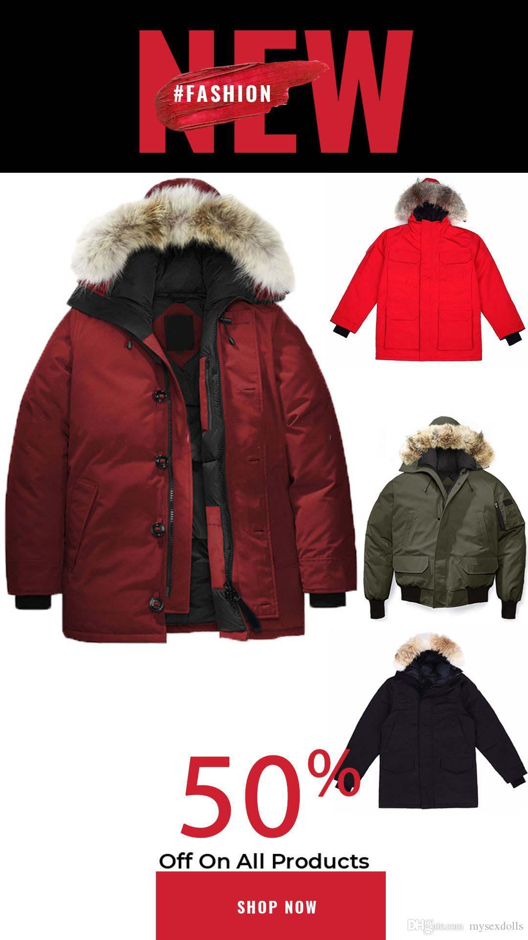 En Kaliteli Adam Parka Kış Ceket Büyük Gerçek Kurt Kürk Kapüşonlu Homme Aşağı Ceket Rüzgarlık Erkekler Fermuar Kalın Sıcak Ceketler 7 Stil Seçmek için