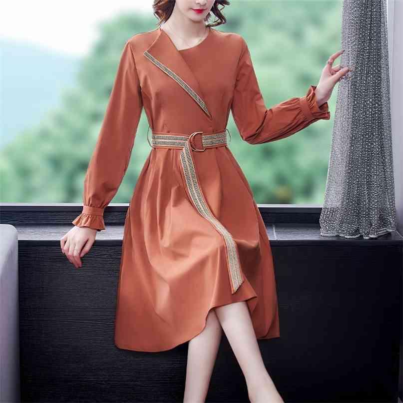 Frühling Casual Vintage Plus Size Midi Kleider Herbst Büro Dame Patchwork Hemd Kleid Elegante Frauen Bodycon Party Vestidos 210603