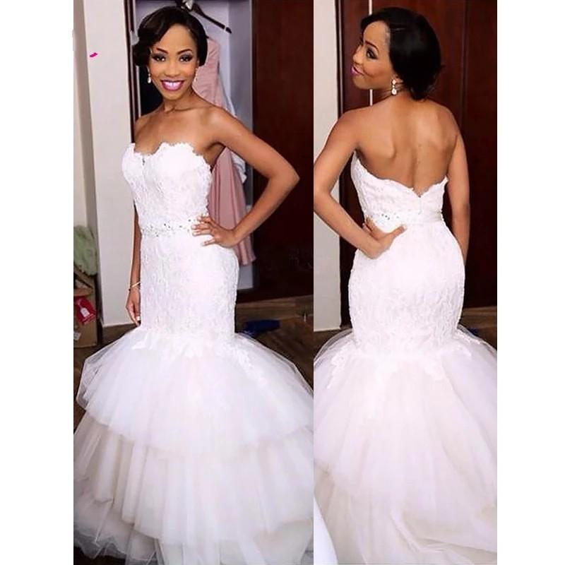 Elegant Africacn Trumpet Wedding Dress 2021 Strapless Lace Top Layered Skirt Crystal Ribbon Beaded Backless Court Train Hollow Bridal Gowns