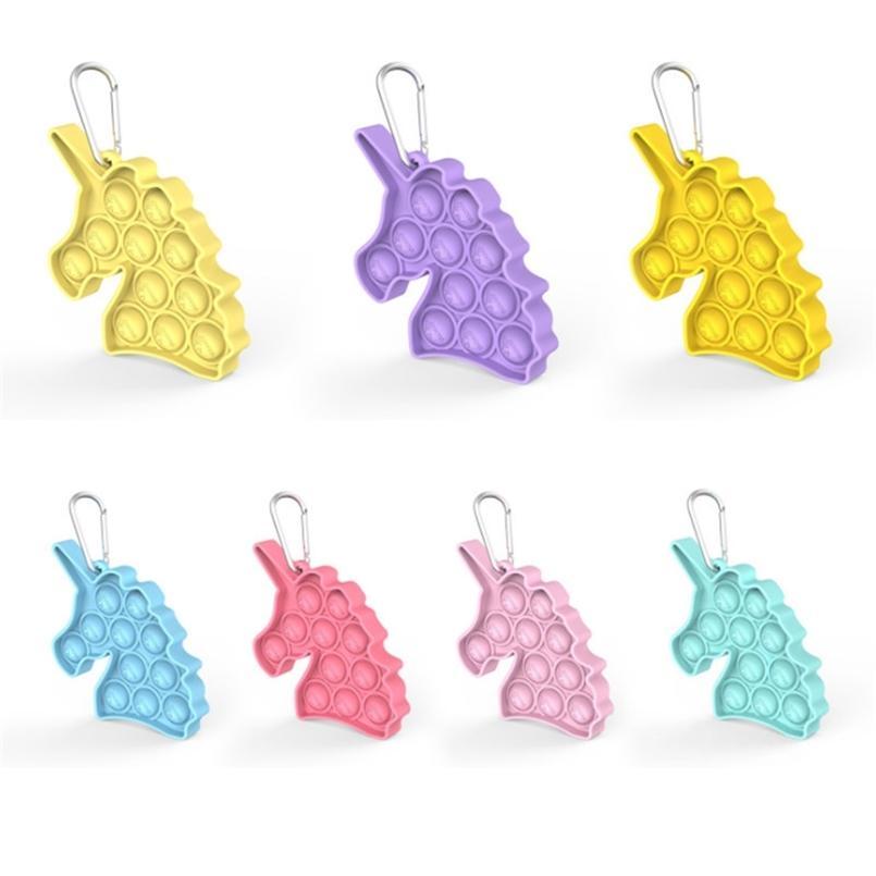 Chaveiro dos desenhos animados Unicorn empurrão poppers poppers Poo-seu puzzle de desktop brinquedo sensorial fidget pads chaveiro suporte para crianças adultos H41G53B
