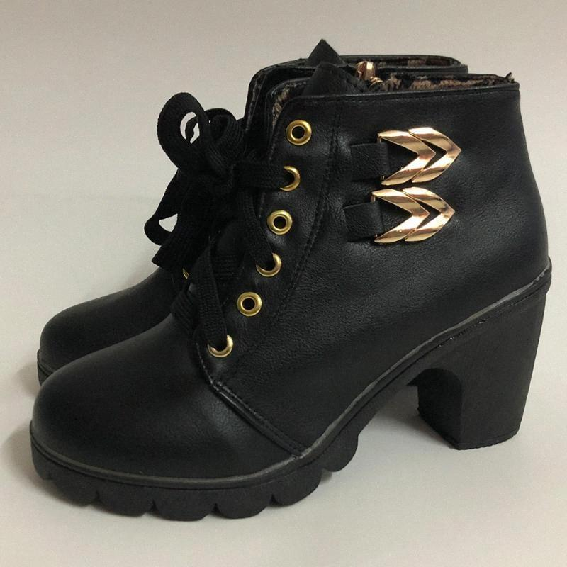 Women Lace Up Boots Ankle Leather Side Zipper Boots High Heels Round Toe Booties Ladies Winter Block Heels Booties D30 y1s6#