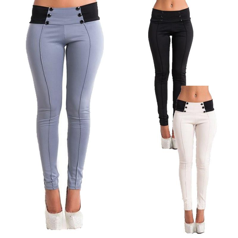 Fashion Womens Solid Color Casual Stretch Tight Leggings Pencil Pants Slim Button Trousers