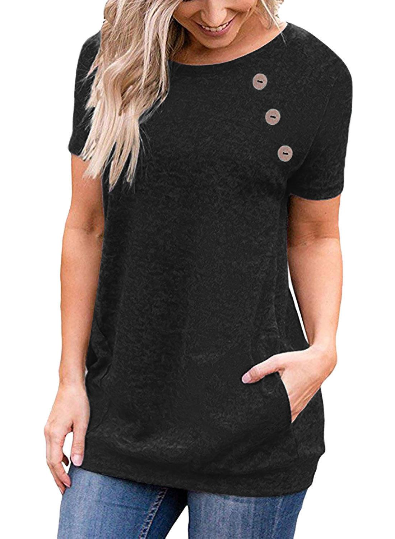 T Shirt 2021 Camiseta de verano de verano Slim Round NE Poeta Botón de manga corta
