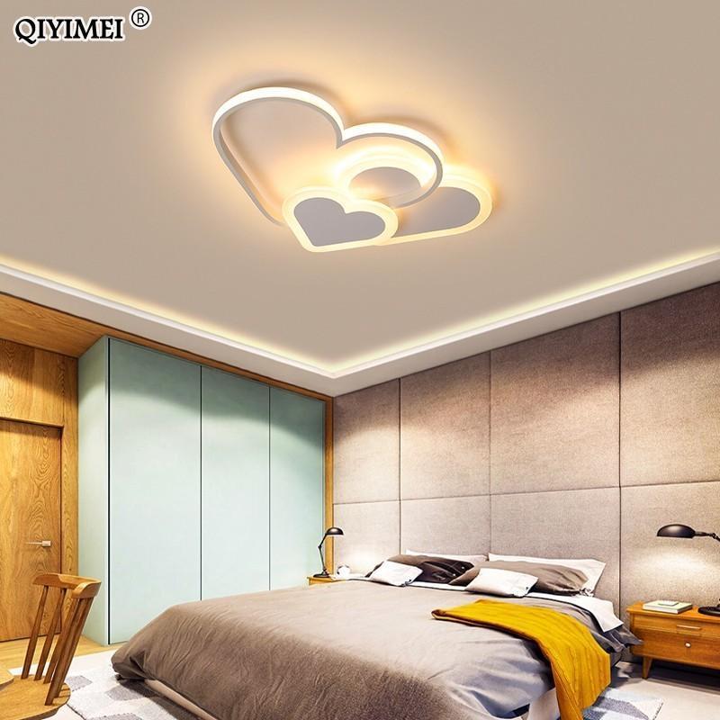 심장 LED 샹들리에 가벼운 소녀 방 침실 플래그 아크릴 조명 램프 현대 정착물 Lampadario Lustres 샹들리에