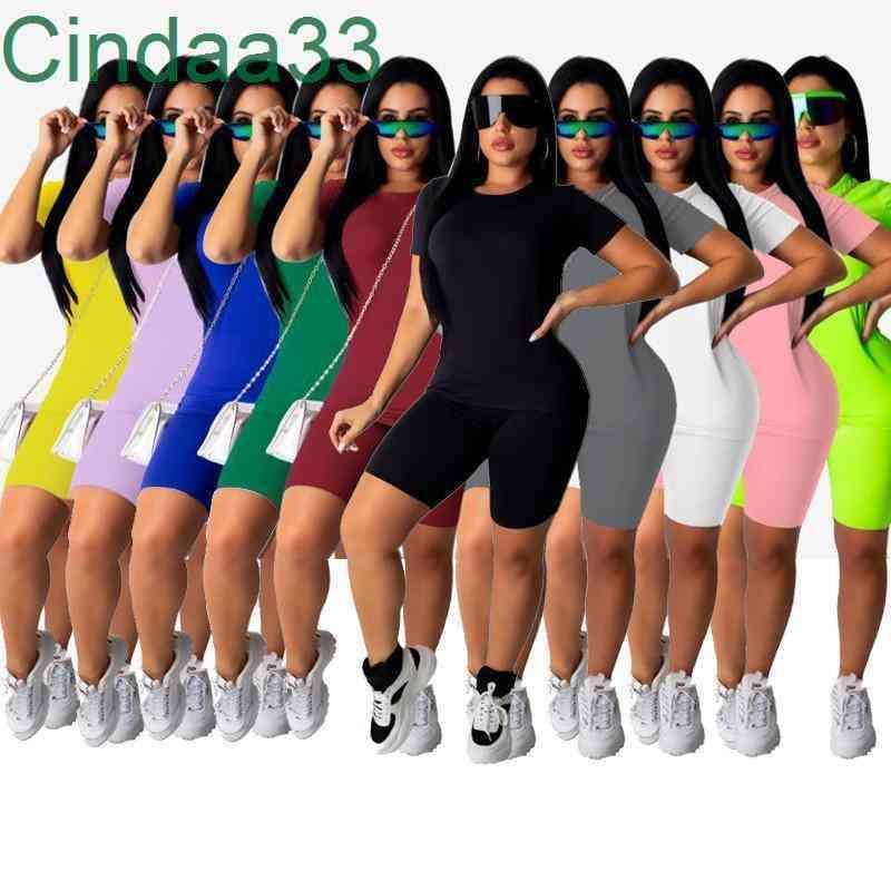 Bayan Eşofman Kısa Kollu 2 Parça Set Kıyafetler Katı Renk Koşu Sportsuit Gömlek Şort Kıyafetler Kazak Pantolon Spor Suit S-5XL