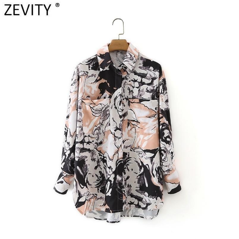 Femmes vintage abstrait encre impression chemise décontractée chemise femelle poches patch chemisier roupas chic chimise hauts ls9063 210420