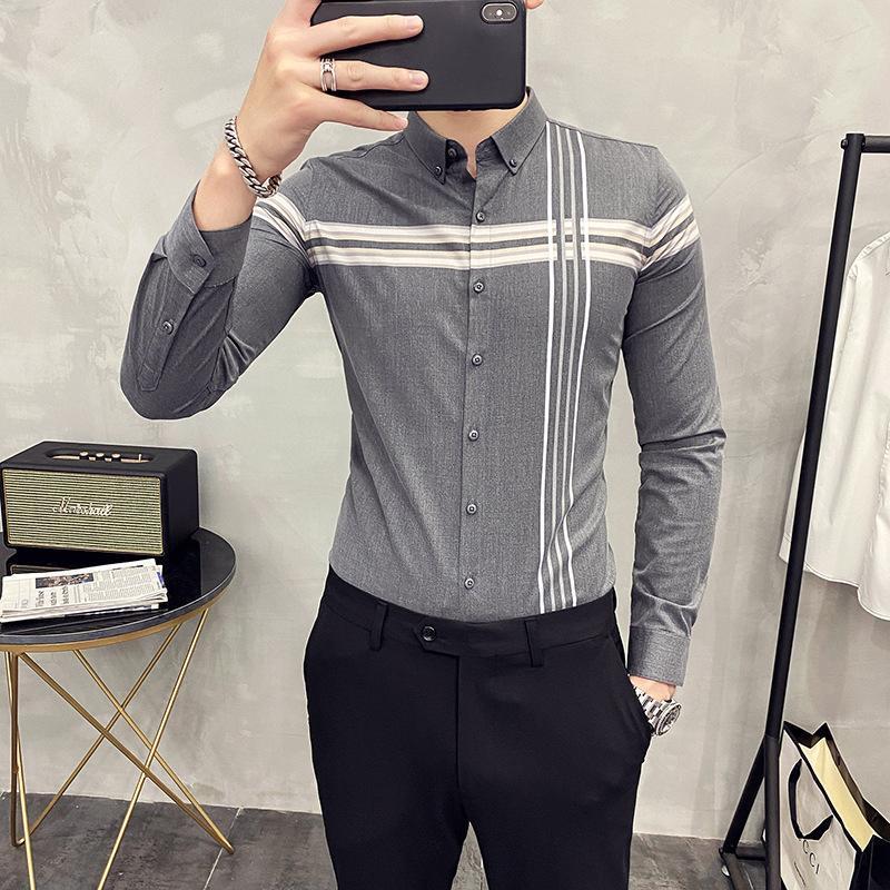 남자 가을 긴팔 셔츠 영국 비즈니스 체크 청소년 전문 인치 의류 캐주얼 셔츠