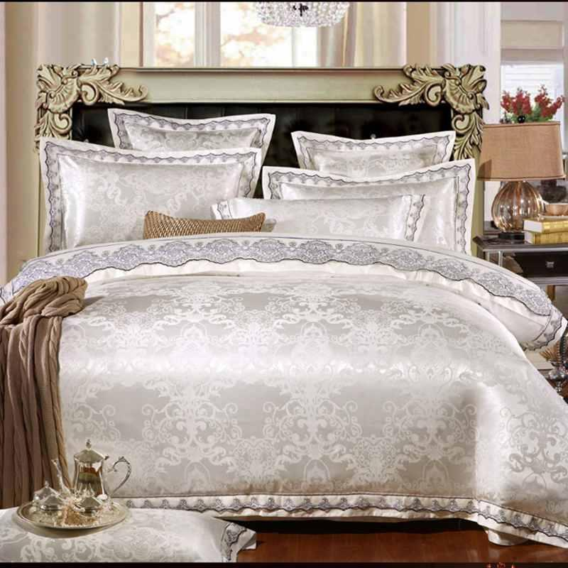 Bedding Sets White Jacquard Silk Cotton Luxury Set King Queen Size Princess Satin Bed Lace Duvet Cover Sheet Pillowcase Linen