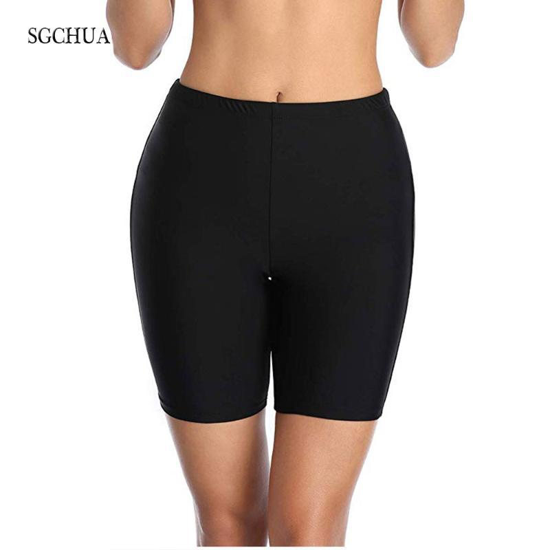 Plus Size XXL Women's Swimming Trunks Solid Black Bikini Bottom Boxer Swim Short Panties May Beach Bather Briefs Two-piece Suits