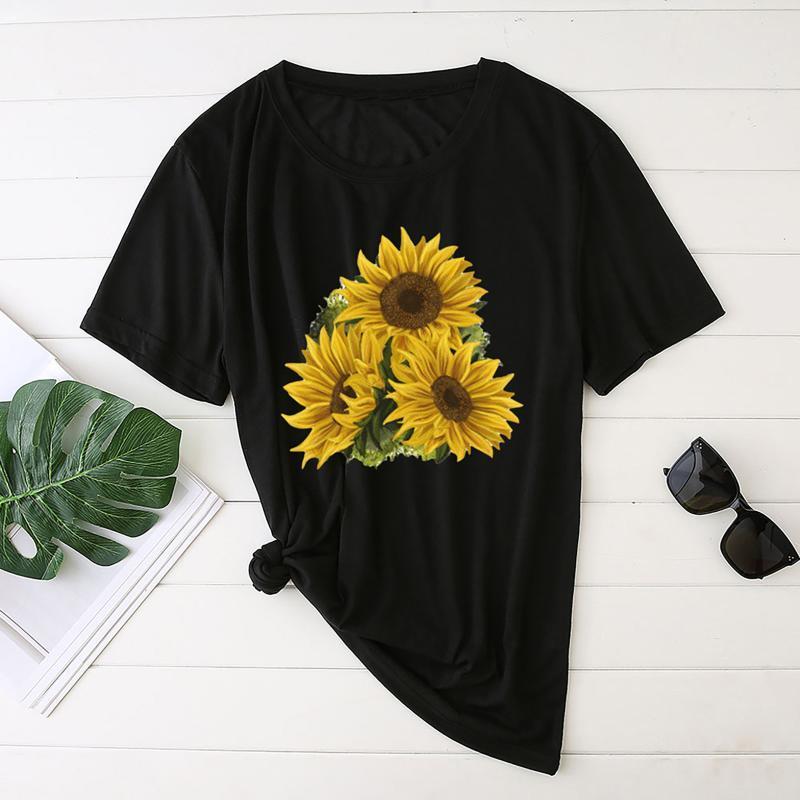 Harajuku Frau Tshirts Mode Womens Sonnenblume Drucken Kurzarm Rundhalsose Lose Damen Tops Mujer Camisetas Femme T-shirts Frauen T-Shi
