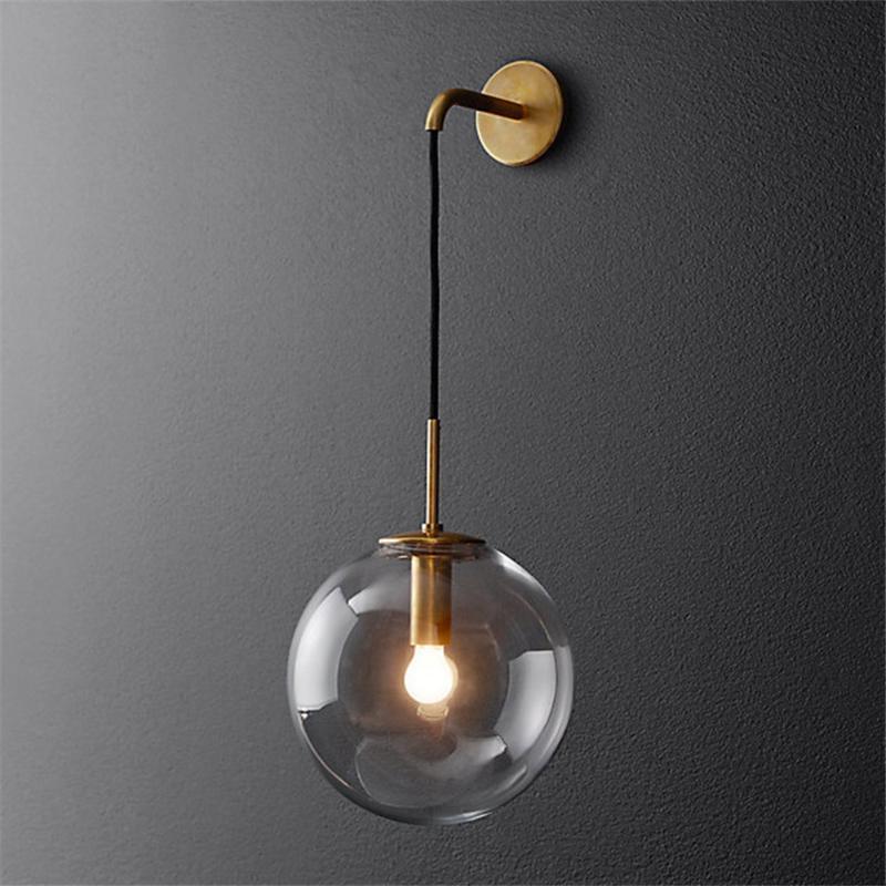 Lámpara de pared LED moderno LED Bola de vidrio nórdico Espejo del baño al lado de American Retro Light Sconce Wandlamp Aplique Murale