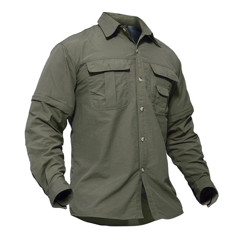 Camicie militari maschili da uomo Esercito leggero traspirante rapido secco tattico tattico estate camicia rimovibile manica lunga manica lunga caccia abbigliamento casual
