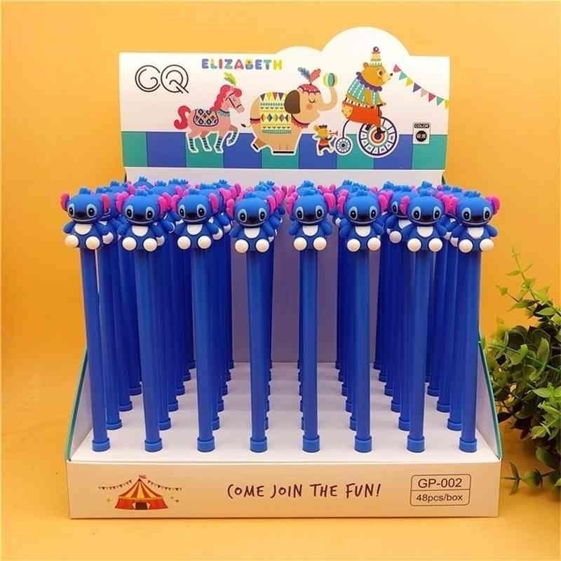 36 PCS / 로트 만화 스티치 젤 펜 귀여운 0.5 mm 검은 색 잉크 시그너처 펜 사무실 학교 쓰기 용품 문구 선물 210330