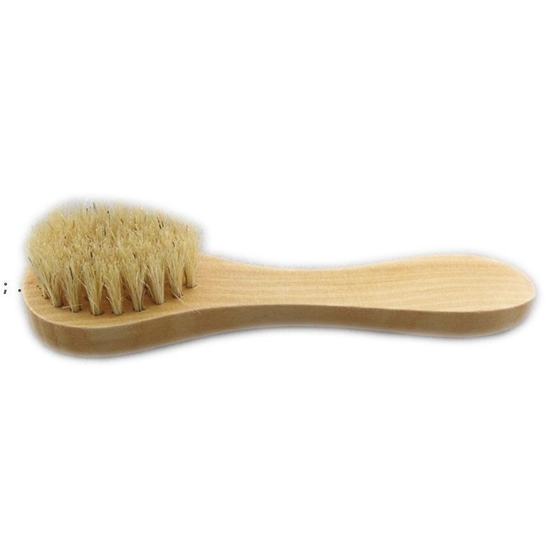 Brosse de nettoyage du visage pour exfoliation faciale poils naturels Nettoyage brosses pour brossage à sec avec poignée en bois OWE8819