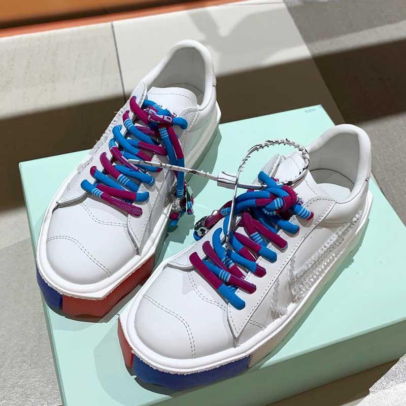 Yüksek Kaliteli Deri Unisex Rahat Ayakkabılar Renk Düzensiz Şekil Taban Sneakers Ayırt Edici Renk Lace Up Erkekler Kadınlar Açık Flats Sneaker