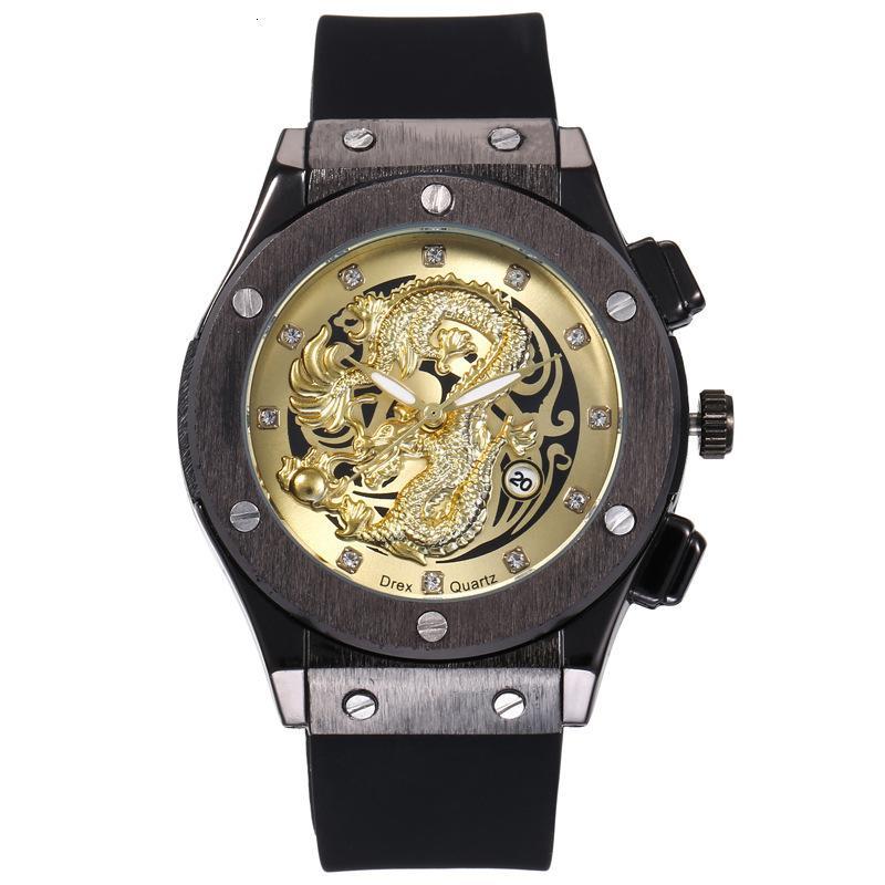 Wristes China Dragão Homens Sil Fita Preto Calendário De Caso De Calendário Impermeável Moda Personalidade Tridimensional Relevo Dourado Dragão Relógio