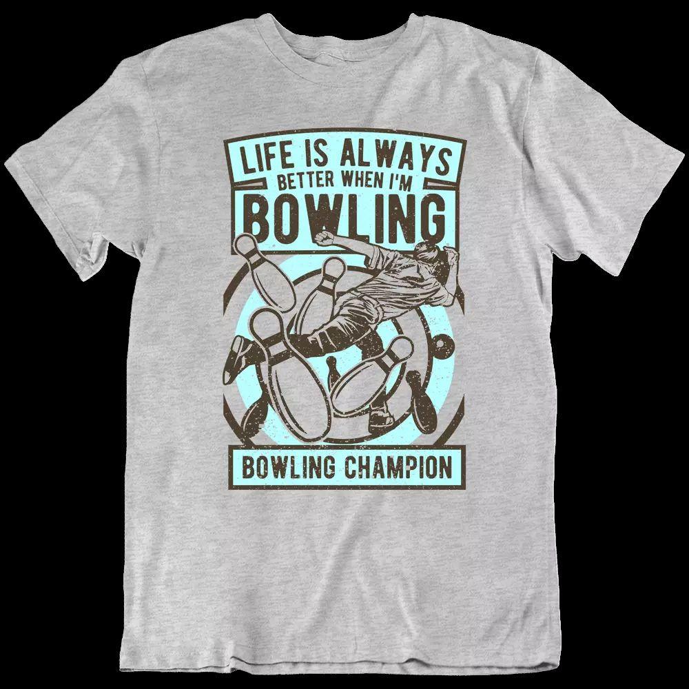 Bowling T-Shirt-Champion Sport-Spiel Bowling-Gasse-Lane Pins Ball-Geschenk-T-Shirt NEU