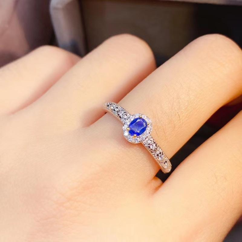 Cluster Rings Elegant Gift For The Birthday Fashion Natural And Real Sapphire 925 Sterling Silver Fine Jewelry