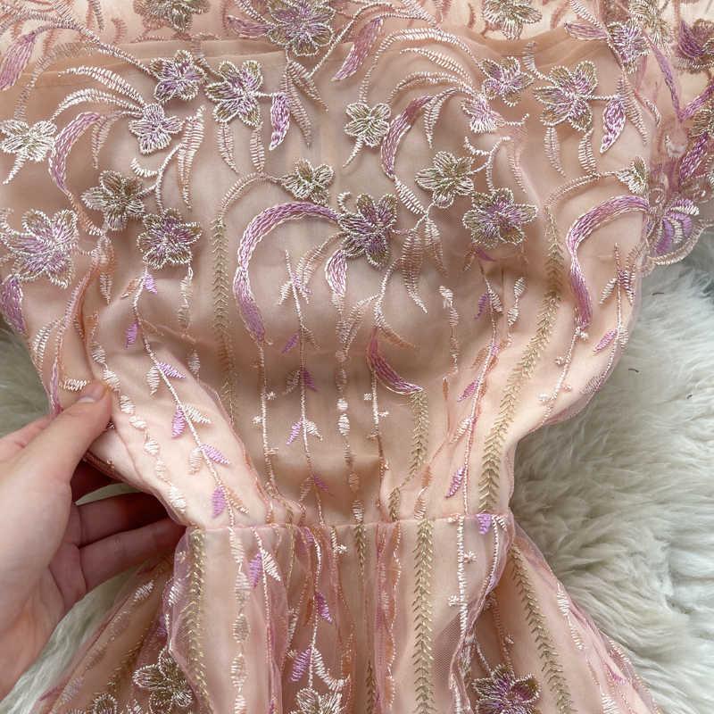 Süße rosa bestickte Kleid Frauen Elegante Siehe durch hohe Taille Kurzarm Party Vestidos Weibliche Sommer 2021 Mode Robe Y0603
