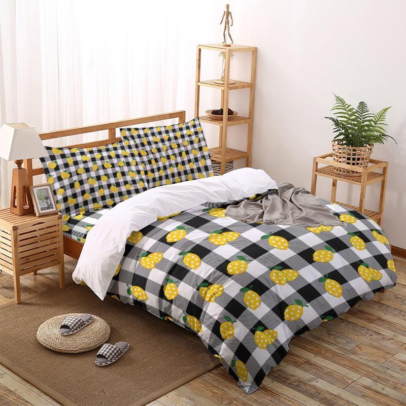 Gitterwelle Dot Duvet Cover Set Home Textile Bettwäsche Bett Bettdecke Komfortable Kingsize-Bettwäsche-Sets