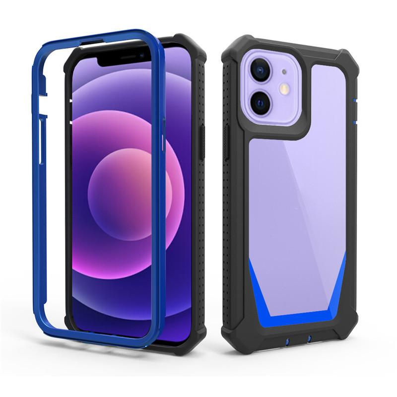 Heavy Duty Rubberized Hard PC Phone Defender Clear Cases 360 Full Body Bumper Protector for iPhone 13 12 11 Pro XS Max XR 6 7 8 Plus