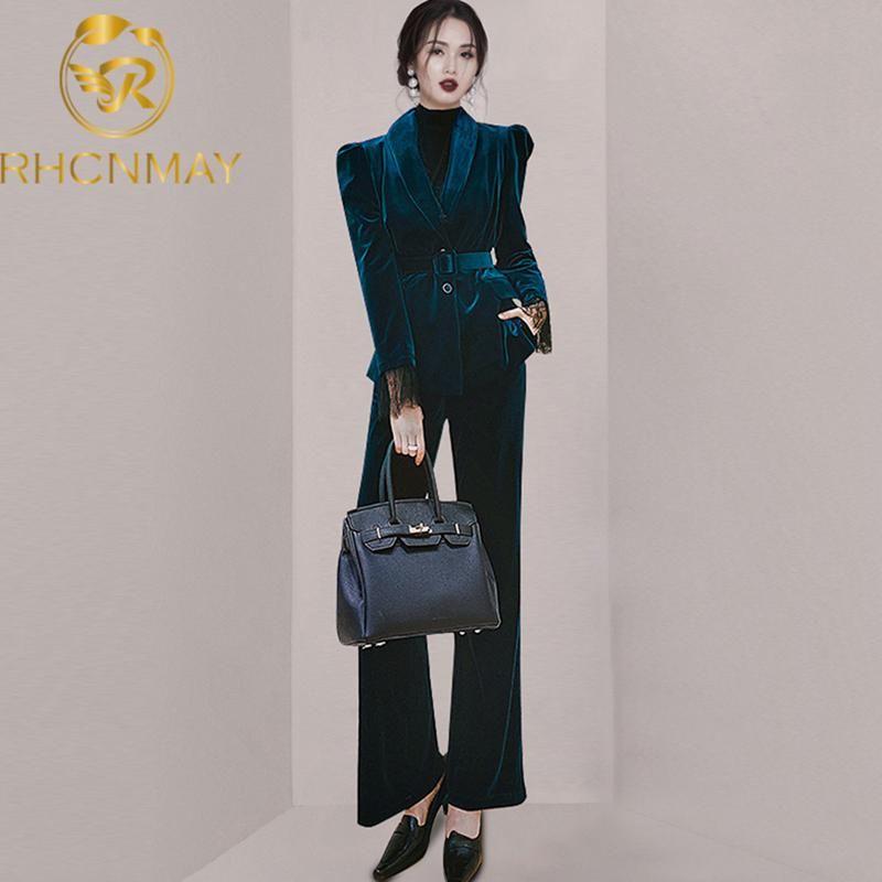 Mujeres otoño e invierno elegante moda temperamento terciopelo blazer traje conjunto mujer oficina delgado retro dos piezas pantalones de mujer