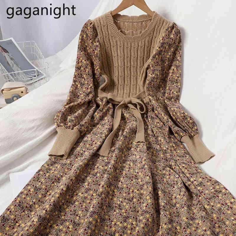 Урожай женская лоскутная цветок Maxi платье с длинным рукавом вельвероя вязаная вечеринка линия платья леди шикарный корейский Vestidos 210426
