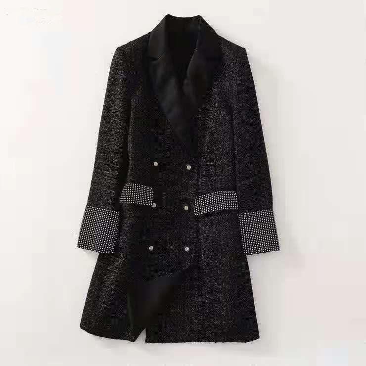 유럽과 미국 여성의 가을 2021 새로운 긴 소매 칼라 뜨거운 드릴링 유행 검은 모직 코트