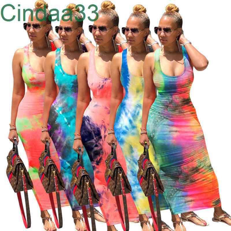 Echoine Kravat Boya Baskı Seksi Uzun Elbise Backless Bandaj Maxi Elbiseler Kolsuz Vintge Vestidos Beach Parti Kulübü Outfis Sundress
