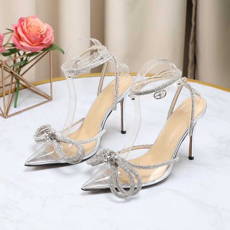 2021 Transparent Pointed Toe Pump Shoes 10cm High Heel Sexy Party Heels Bowtie Rhienstone Ankle Straps Women Sandals