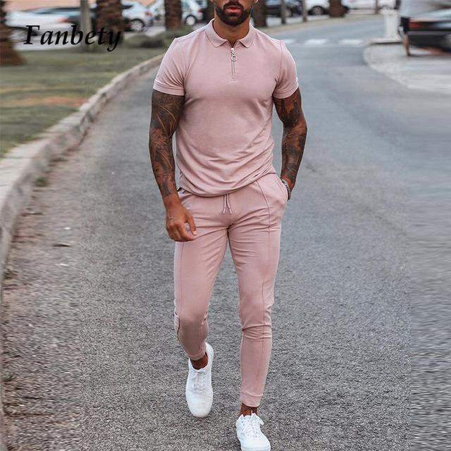 Hombres casual verano camisa de manga corta tops y pantalones con cordón traje de moda trajes de ropa masculina sólida sueltos Streetwears Trajes de los hombres