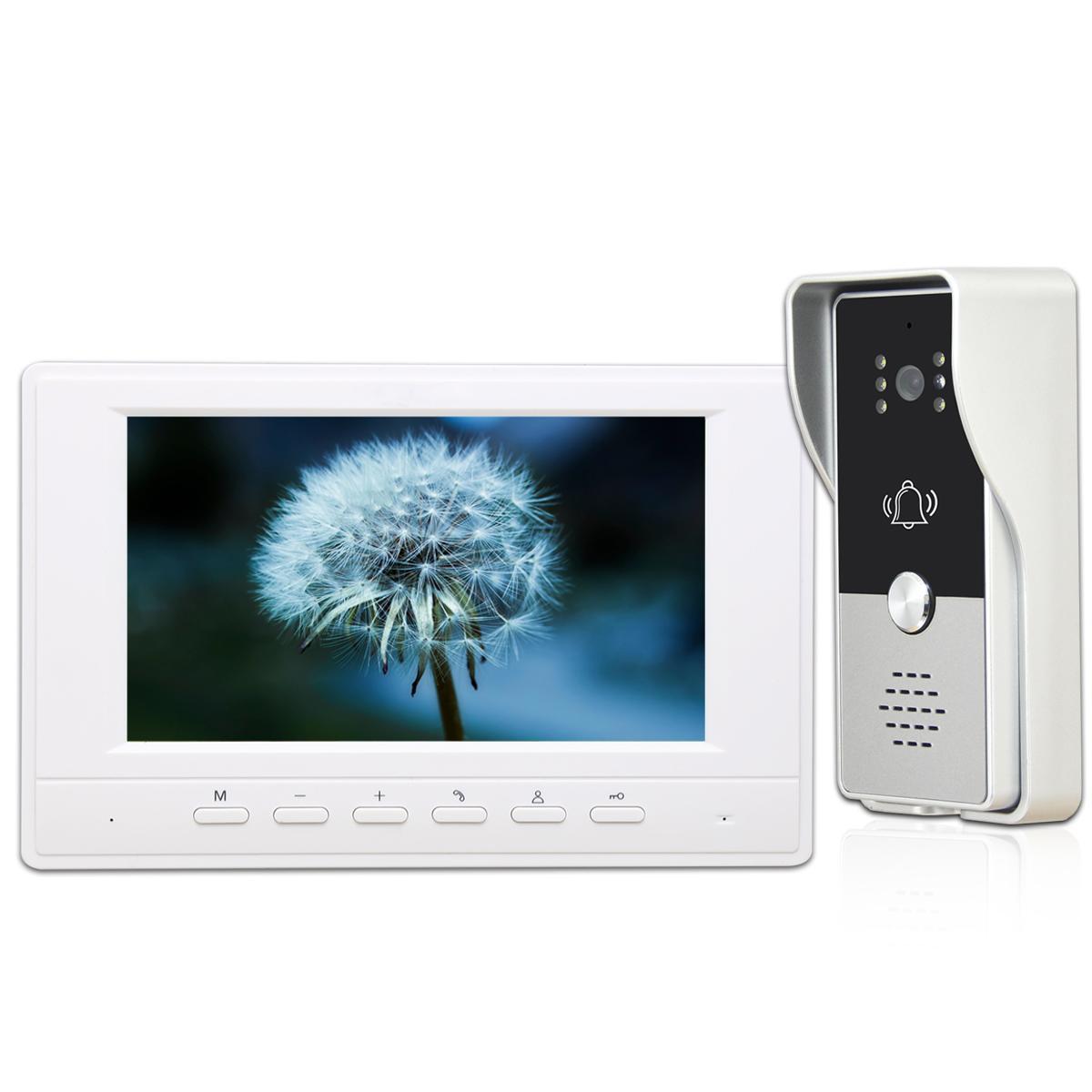 7 inch Monitor VideoDoorbell System Video Intercom Door Phone Kit for Home Villa Office with 700TVL IR Night VisionCamera