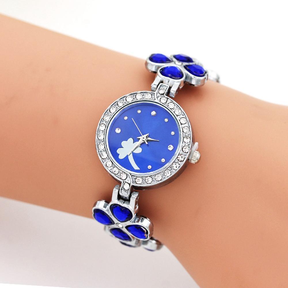 Mode Vier Klee Blume Muster Armband Uhren Liebe Herz Legierung Metall Frauen Damen Frauen Rhinestone Kleid Quarz Freizeit Armbanduhr