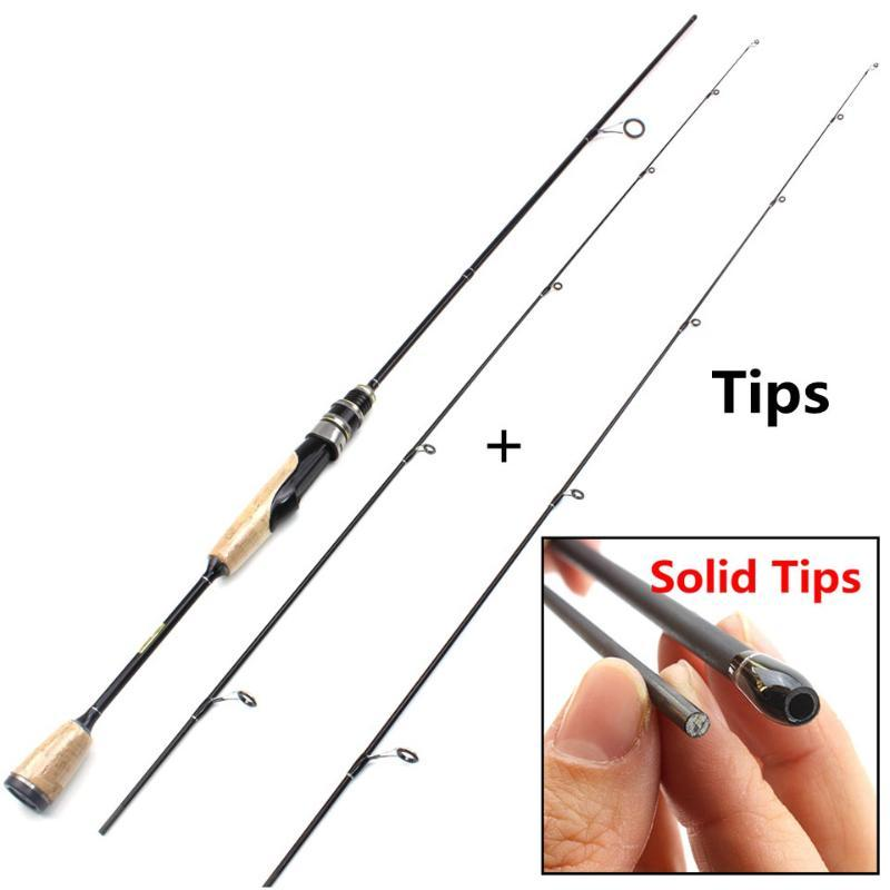 Boat Fishing Rods 1.68M Ul Power Wooden Handle Lure Rod Ultra Light Spinning 2-6g Weight 2 Tips Slow Speed Pole
