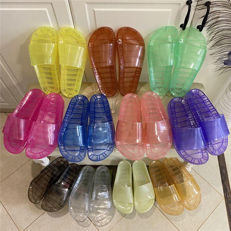Designer Mens Donne Pantofole Glow Sandali di cristallo trasparente Sandali esterni Spiaggia da esterno Slifts fluorescenti Sandalo riflettenti Sandalo Appartamenti Flip Flops Gomma Slipper Box