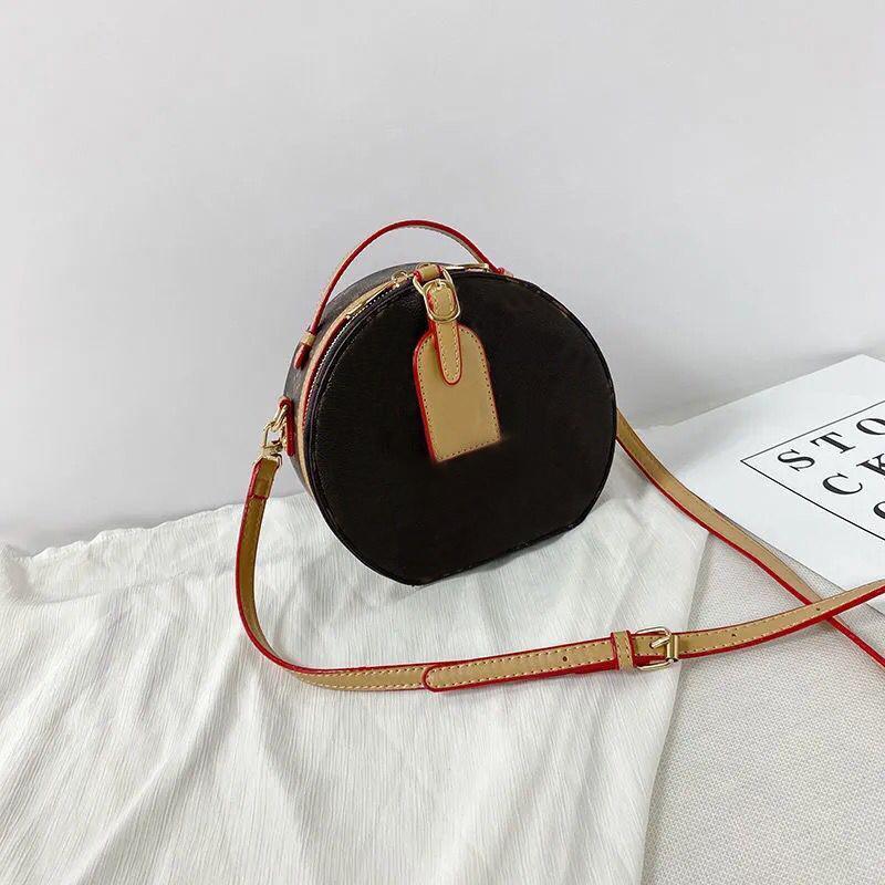 Designer Designer Designer Designer 2021 Borse Borse Borse Shoulder Crossbody Secchio Donne Original Brand Fashion Real Pelle Genuine Pelle Top Quality Round Circle Brown