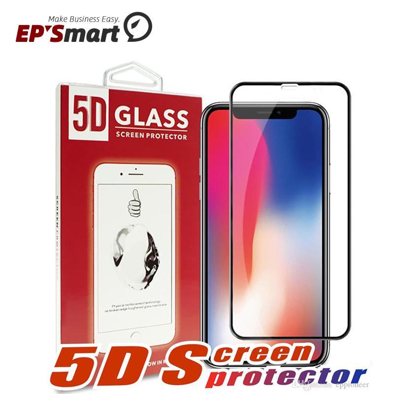 5D 9H الغلاف الكامل فيلم الزجاج المقسى حامي واقي مقاوم للانفجار آيفون 12 ميني 11 XS XS ماكس 6 6 ثانية 7 8 زائد منحني 3D حافة مع حزمة البيع بالتجزئة
