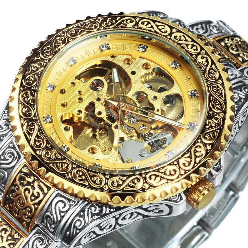 Erkek Saatler Üst El Gravür Mekanik Adam İzle Otomatik Altın İskelet 2021 Moda Relogio Saatı