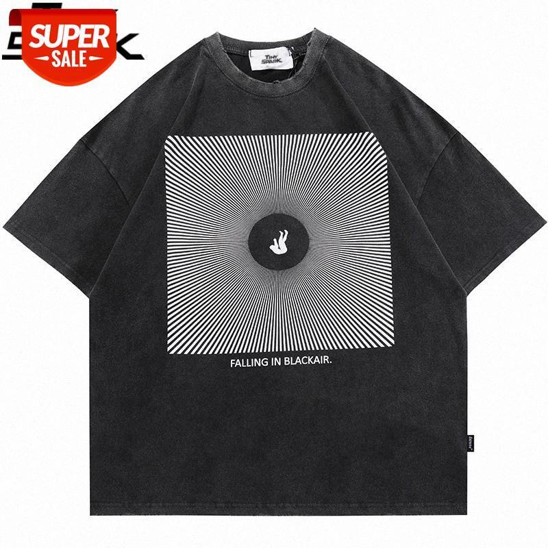 2021 Männer übergröße gewaschenes T-shirt Hip Hop Buchstabe Illusion Print zerrissen Tshirt Streetwear Harajuku Baumwolle Kurzarm T-Shirt # VW43