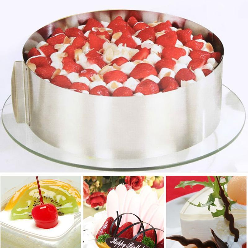 Other Bakeware 16-30CM Retractable Adjustable Stainless Steel Baking Tool Circle Mousse Ring Cake Mold Size Dessert Decorating Tools