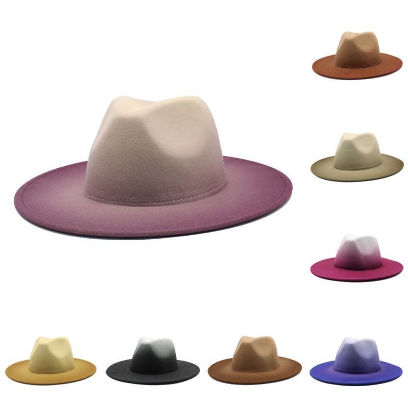 8 색 넥타이 염색 된 인민이 가짜 양모 Fedora 모자를 느꼈다 2 톤 여성을위한 다른 컬러 브림 재즈 모자 2278 v2