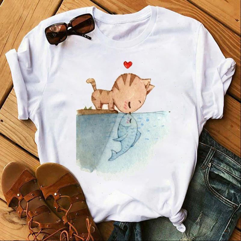 Nette Frauen Tops Frauen T-shirt Lustige Katze Gedruckt Weibliche Lässige Kurzarm O Neck Tee Camisetas Mujer-Käppchen
