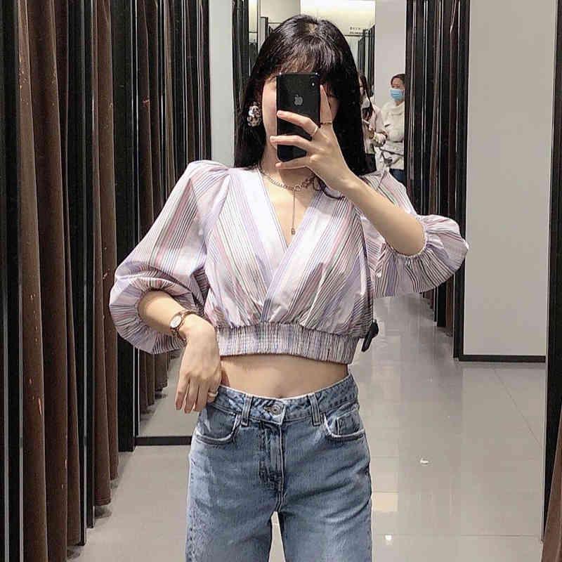 Damen V-Ausschnitt Streifen Kurzarm T-Shirt Sommer Freizeitkleidung